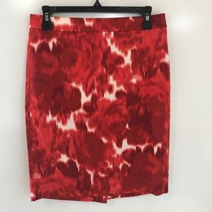 J Crew 2 Pencil Skirt Red Floral Abstract Print
